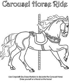 Use bright colors to finish drawing the carousel horse. Question:Where you can find the largest carousel in the world? The double-decker Columbia carousel is 10 stories high and carries 115 riders! Horse Coloring Pages, Coloring Pages To Print, Colouring Pages, Free Coloring, Adult Coloring Pages, Coloring Books, Carousel Birthday Parties, Carousel Party, Carosel Horse