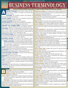 Business Terminology Laminated Reference Guide Comprehensive guide which is a must for business students, professionals or anyone looking to broaden their business vocabulary. laminated guide packed with of daily business terms. Item is gre Start Up Business, Business School, Starting A Business, Business Planning, Business Tips, Online Business, Business Writing, Business Education, Business Letter