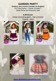 GARDEN PARTY Knitting and crochet tutorials (in English) - PDF files sent by E-mail For Little Darling – Chérie (Corolle) – Paola Reina and Minouche dolls or similar size dolls Euros Dress (including gilet) – Hat (crochet) Overall - Skirt Crochet Mens Scarf, Crochet Baby Pants, Crochet Baby Bonnet, Baby Blanket Crochet, Crochet Shawl, Crochet Jacket, Crochet Mandala, Irish Crochet, Crochet Girls Dress Pattern