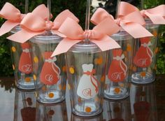 DIY - adorable glasses for an outdoor rehearsal dinner, wedding, or reception for the bride & her bridesmaids. obviously not as their gift, just a thoughtful idea.  personally, i would love getting one of these bc i already drink with a straw and a lid, ALWAYS!!!  i hate when bugs fly into my drinks! also helps prevent spills when little ones are running around!  =)