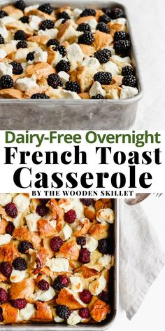 Overnight French Toast Casserole Recipe is exactly what I will be waking up to on Christmas morning! (Dairy-Free Friendly) Make this easy recipe the night before your lazy weekend mornings or holiday morning, then bake the day of and indulgent, delicious flavor is ready in just 30 minutes! #OvernightFrenchToast #TheWoodenSkillet Overnight French Toast, French Toast Bake, French Toast Casserole, Brunch Recipes, Easy Dinner Recipes, Sweet Recipes, Breakfast Recipes, Dessert Recipes, Casserole Dishes