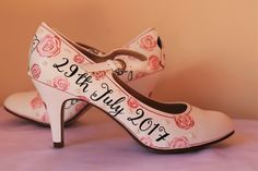 Roses and pearls- Hand painted wedding shoes