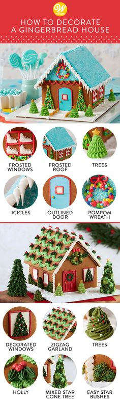 How to Decorate a Gingerbread House Take your gingerbread house decorating to another level! Here are some helpful tips for piping everything from the front door to the trimmings that help make your house a home for the holidays! Gingerbread House Frosting, Cool Gingerbread Houses, Gingerbread House Designs, Gingerbread House Parties, Christmas Gingerbread House, Christmas Goodies, Christmas Desserts, Holiday Treats, Christmas Treats
