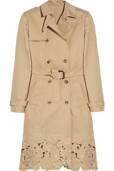Valentino - Embroidered cotton-gabardine trench coat