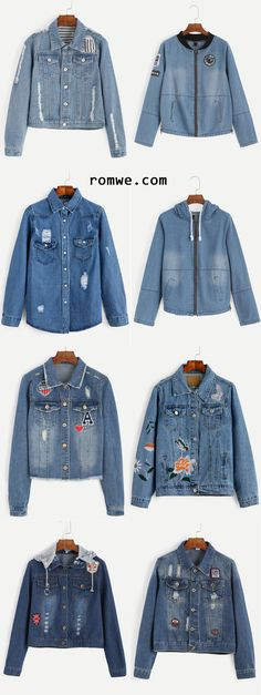 Denim Jackets - street fashion- romwe.com                                                                                                                                                                                 More