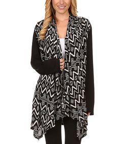 Look what I found on #zulily! Black Geometric Drape Sidetail Cardigan #zulilyfinds