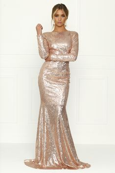 Honey Couture - Viva Rose Gold Sequin Long Sleeve Maxi Formal Gown Dress