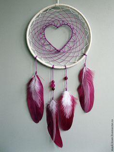 Купить Ловец снов для влюбленных - розовый, сливовый, сливочный цвет, перья, перья птиц