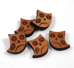 Laser Cut Supplies-6 Pieces.Owl Charms -Laser Cut Wood Owl -Earring Supplies-  Little Laser Lab Sustainable Wood Products