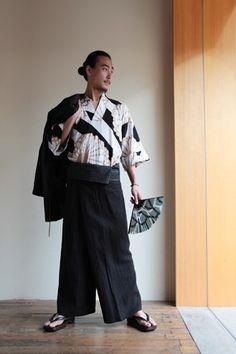 Modern Kimono for men.  Kimono sleeve tops silkscreened $95 #sousou, #kimono…
