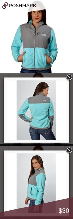 North Face Women's Denali Fleece Surf Green/Gray Made from recycled Polartec® fleece, the Denali fleece jacket melds high performance with eco-conscious style. Wear it alone or as a liner—it zips in easily to other outerwear apparel from The North Face. Long sleeves with elastic cuffs Welt pockets at side waist; single welt pocket at left chest Cinchable cord at hem Zip-in compatible with other products from The North Face Polartec® fleece Lightweight Lined Hits at hip; approx. 26 inches…