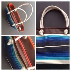 Descripción: bolso cartera  Color: azul, café, naranja  Medidas: 42cm x 27cm Material: algodón y cuero sintético