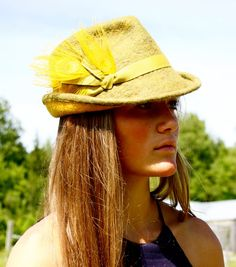 Eco fashion mens style fedora hat, dijon gold mustard yellow peacock feathers - hand-felted wool, handmade to order in Vermont