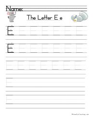 Letter E Handwriting Practice - Have Fun Teaching