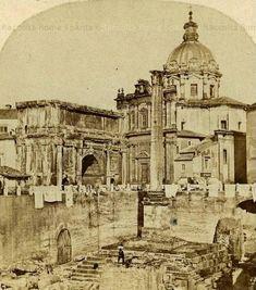 Panni stesi all'Arco di Settimio Severo e Colonna di Foca Anno: 1859