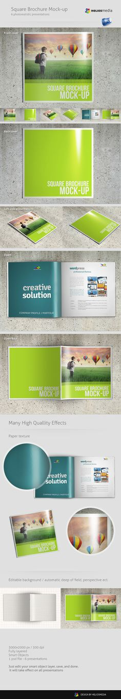 Square Brochure Mockup by Rafał Kozera, via Behance