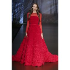 Look 43: Red frayed silk chiffon ruffle ballgown with sheer full length sleeves #ralphandrusso #hautecouture #couture #AW15 #autumnwinter #paris #pfw