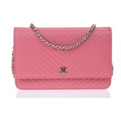 Pre-owned Chanel Pink Caviar Leather Chevron WOC Wallet On Chain Bag ($2,600) ❤ liked on Polyvore featuring bags, chanel bags, pink leather bag, pink pouch, pink pouch bag and pre owned bags