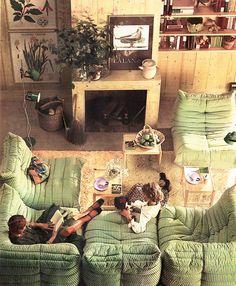 Striped green sofa