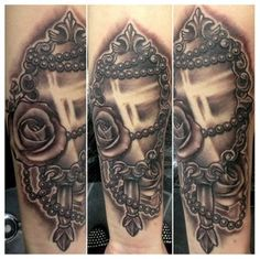 vintage+mirror+tattoo | Vintage mirror with roses