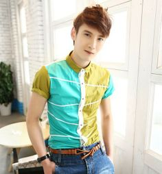 Preppy Stylish Trendy 2014 Unique Patchwork Young Men Boys' Tops Popular Asian Clothing Promotion $24.00 Young Men, Preppy, Promotion, Men's Fashion, Asian, Popular, Stylish, Boys, Unique