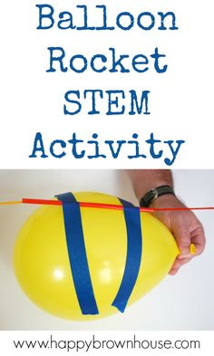 Watch this balloon rocket zoom across the room in this balloon science experiment. This is a great stem activity for kids that will leave them asking to do it again. #science #STEM #kids via @happybrownhouse