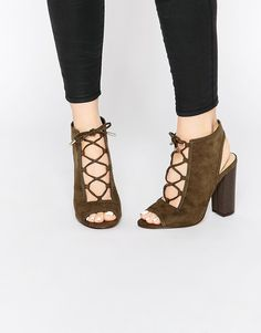 Image 1 of New Look Suedette Lace Up Block Heel