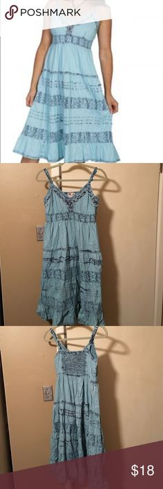 "Lighter blue with dark blue distressed trim Western inspired blue sundress with dark blue distressed details. Length is 40"" (adjustable straps). Fully lined skirt. Good condition Scully Dresses"