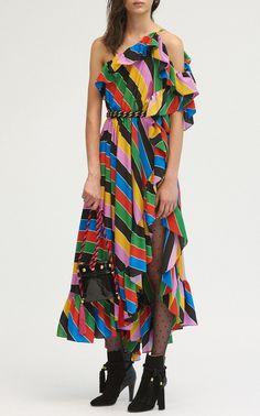 Asymmetric Ruffle Midi Dress by Philosophy