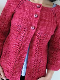 February Lady Sweater by pamela wynne malabrigo Worsted, Geranio color Ladies Cardigan Knitting Patterns, Knitting Patterns Free, Knitting Stitches, Free Knitting, Crochet Coat, Crochet Cardigan, Crochet Needles, Knit Vest, Sweater Design