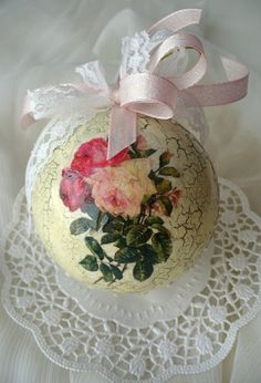 Handmade Christmas Tree Decor, Shabby Chic Roses Christmas Ball.  The most magical and wonderful holiday!  Papier mache ball decorated by decoupage.To