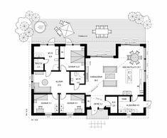 Villa Östersund – Stilrent enplanshus med rak enkel design Bungalow, Villa, Floor Plans, Houses, Flooring, Boutique, How To Plan, Future, Architecture