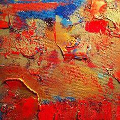 Detail, #goldleaf over red  #inthestudio #oksanaprokopenko #abstractart #makeartnotwar