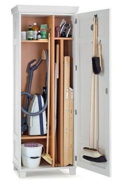 Broom Cabinet, Room Storage Diy, Tall Cabinet Storage, Cabinet, Cleaning Cupboard, Small Storage, Bedroom Cupboards, Home Decor, Laundry Room Storage