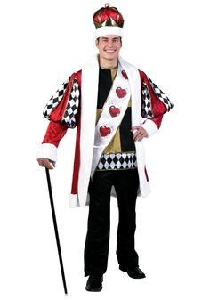 Get this plus size deluxe king of hearts costume and go as an Alice in Wonderland couple with the Queen of Hearts costume this Halloween for a great price.