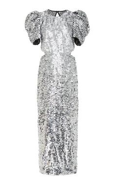 Embroidered Puff Sleeve Gown by Carolina Herrera