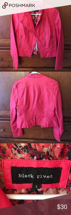 Pink leather jacket Size small pink zip up leather jacket! Never worn! Black Rivet Jackets & Coats