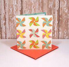 Pinwheel Mini Cards, Blank Note Cards, Small Note Cards, Spring Note Cards, Pinwheel Gift Tags, Mini Orange Envelopes, Set of 4 by TiddleywinksDesigns on Etsy #Pinwheels #EasterCards