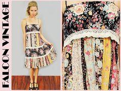 Vtg 70s Floral Quilt Patchwork RUFFLE Boho Hippie Festival Mini Dress
