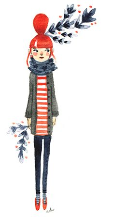 Abigail Halpin Girl with red hair illustration art print