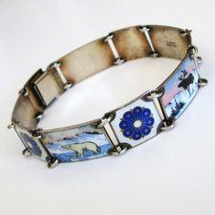Vintage David-Andersen Bracelet Sterling Enamel Norway Scenic from quick-red-fox on Ruby Lane Enamel Jewelry, Silver Jewelry, Norway, Jewerly, Jewelry Bracelets, David, Bling, Midnight Sun, Enamels