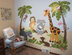 By altering the colors slightly Michelle has a perfectly coordinated room thanks to this cute paint-by-number wall mural. Mural Wall Art, Art Wall Kids, Baby Boy Rooms, Baby Room, Nursery Room, Kids Bedroom, Kids Room Murals, School Murals, Room Pictures