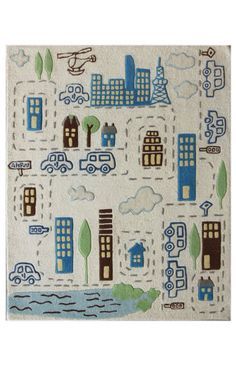 Rugs USA Cradle Cityscape Ivory Rug. 4th of July Sale! Pick from 1 of 2 promotions to save today!  Area rug, carpet, design, style, home decor, interior design, pattern, trend, statement, summer, cozy, sale, handmade, sale, discount, free shipping.