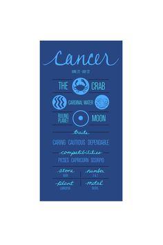 CANCER. Zodiac Poster. Detailed Description of por ZodiacZone, $14.00