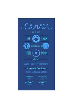 CANCER. Zodiac Poster. Detailed Description of Astrological Sign