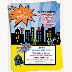 Superhero Birthday Invitation by GingerSnapsOriginal on Etsy, $16.50