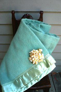 Vintage AQUA Wool Blanket UNUSED