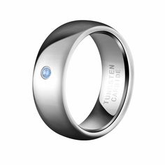 mens 8mm white plated tungsten carbide ring wedding band with blue cubic zirconia stone 85