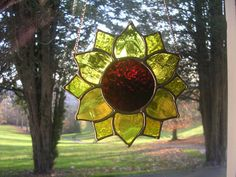 Sunflower! Bright Sunny Yellow Stained Glass Art Suncatcher - pewtermoonsilver | eBay