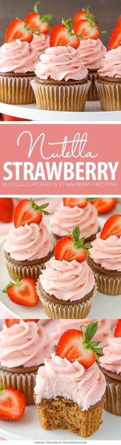 Strawberry Nutella Cupcakes with a soft, fluffy Nutella cupcake topped with more Nutella and a fresh strawberry frosting. Mini Desserts, Just Desserts, Delicious Desserts, Yummy Food, Nutella Cupcakes, Yummy Cupcakes, Nutella Ganache, Cupcake Recipes, Cupcake Cakes